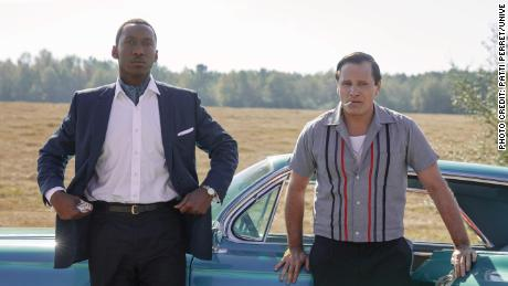 """Mahershala Ali as Dr. Donald Shirley and Viggo Mortensen as Tony Vallelonga in """"Green Book,"""" directed by Peter Farrelly."""