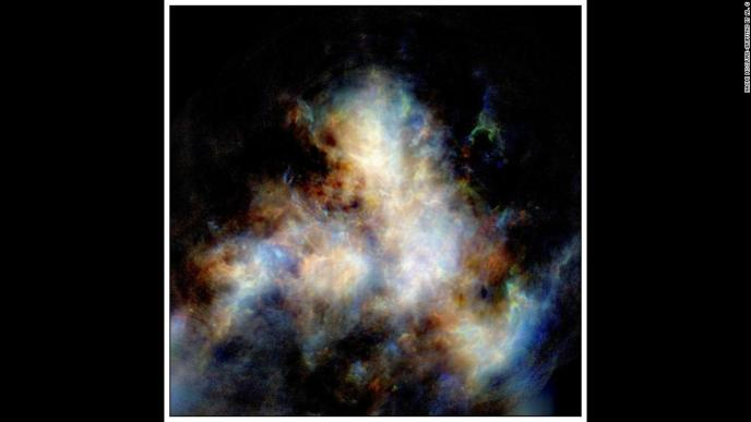 A radio image of hydrogen gas in the Small Magellanic Cloud. Astronomers believe that the dwarf galaxy is slowly dying and will eventually be consumed by the Milky Way.