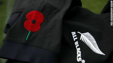 The All Blacks will wear a poppy on their sleeves against England.