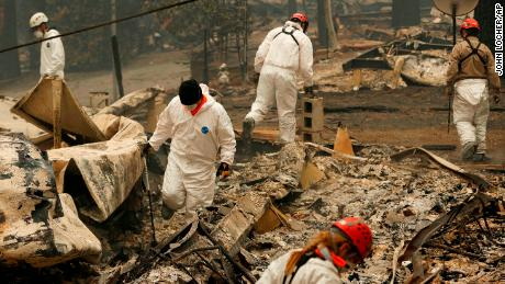 The search continues at a trailer park destroyed by the Camp Fire.