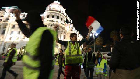 A protest against rising fuel and oil prices takes place in Nice, southeastern France, on November 15.