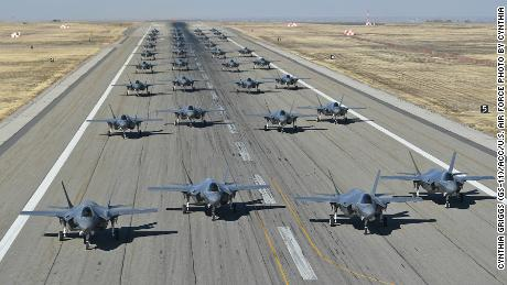 US Air Force conducts first ever F-35 fighter jet 'elephant walk'