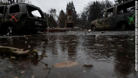 Rain falls earlier this week on a home destroyed by the Camp Fire in Paradise, California.