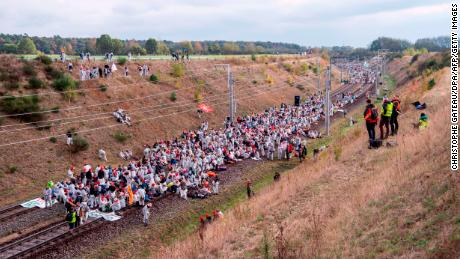 Activists protesting the expansion of an open-pit lignite mine at Hambach Forest, Germany, on Octoer 27, 2018.