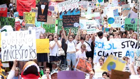 Thousands of students gathered a Martin Place in central Sydney armed with signs.