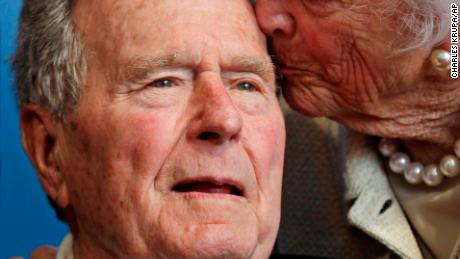 FILE - In a Tuesday, June 12, 2012 file photo, former President George H.W. Bush, and his wife former first lady Barbara Bush, arrive for the premiere of HBO's new documentary on his life near the family compound in Kennebunkport, Maine. Former President Bush has been hospitalized for about a week in Houston for treatment of a lingering cough. Bushs chief of staff, Jean Becker, says the 88-year-old former president is being treated for bronchitis at Houstons Methodist Hospital and is expected to be released by the weekend. He was admitted Friday, Nov. 23, 2012.  (AP Photo/Charles Krupa, File)