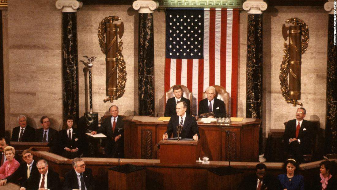 President Bush delivers his first State of the Union address to a joint session of Congress on January 31, 1990.