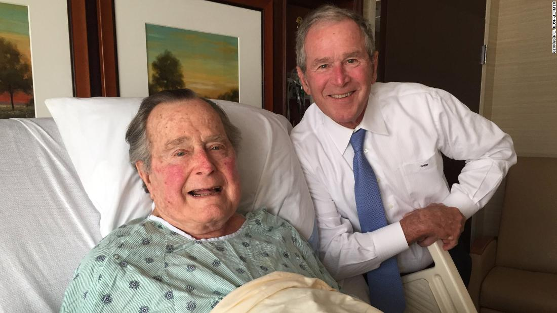 Bush was admitted to a hospital in April 2017 for an acute respiratory problem stemming from pneumonia. This photo of him and his son George was posted to Twitter.