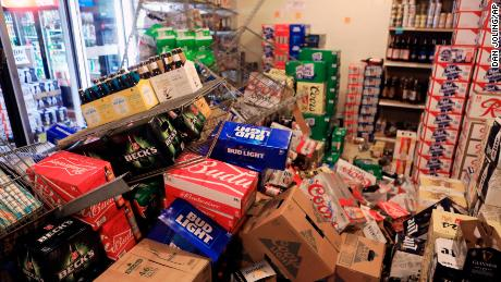 The earthquake sent items falling off the shelves Friday.