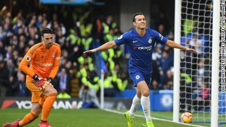 Chelsea's Spanish striker Pedro celebrates.