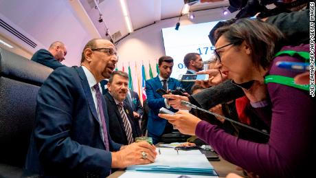 Saudi Arabia's Energy Minister Khalid al-Falih attends the 175th OPEC Conference of Organization of the Petroleum Exporting Countries (OPEC) in Vienna,Austria on December 06, 2018. (Photo by JOE KLAMAR / AFP)        (Photo credit should read JOE KLAMAR/AFP/Getty Images)