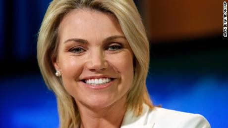 FILE - In this Aug. 9, 2017, file photo, State Department spokeswoman Heather Nauert speaks during a briefing at the State Department in Washington. President Donald Trump is expected to nominate Nauert to be the next U.S. ambassador to the United Nations. Two administration officials confirmed Trump's plans. A Republican congressional aide said the president was expected to announce his decision by tweet on Friday morning, Dec. 7, 2018. The officials were not authorized to speak publicly. (AP Photo/Alex Brandon, File)