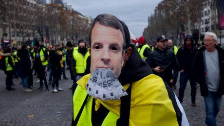 Protesters take to the steets against President Emmanuel Macron's government.