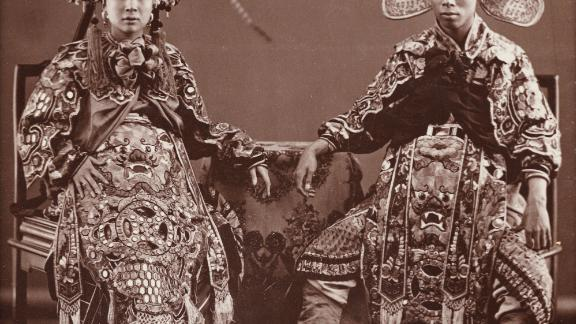An image of two actors taken by pioneering Chinese photographer Lai Afong. Photography studios spread through China in the latter half of the 19th century.