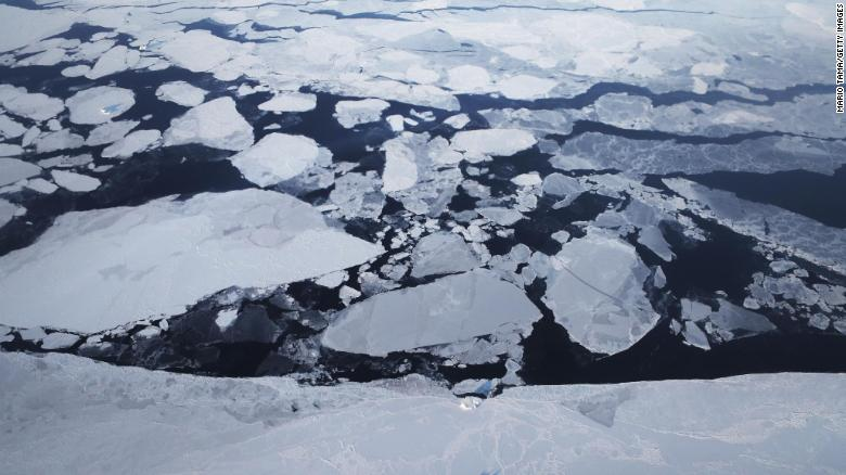 Melting sea ice is seen from NASA's Operation IceBridge research aircraft off the northwest coast on March 30, 2017 above Greenland.