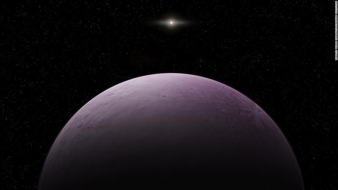 An artist's illustration of one of the most distant solar system objects yet observed, 2018 VG18 -- also known as