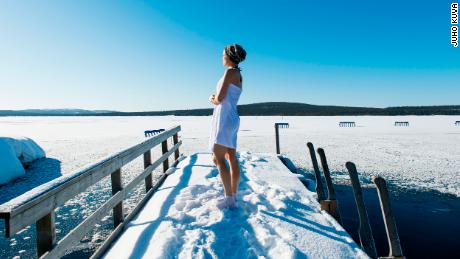 Ice swimming embraced by people of happiest country in the world