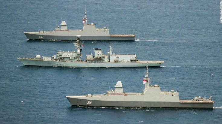 Pictured: HMS Argyll (center) takes part in a large scale PHOTEX with the Malysian, Singapore, Australian and New Zealand Navy in the South China Sea whilst on Exercise Bersama Lima 2018.HMS ARGYLL TAKES PART IN LARGE SCALE FORMATION SAILINGOn Saturday 13th October 2018, HMS Argyll took part in a large scale formation sailing exercise which in turn was covered overhead by a photographic exercise (PHOTEX). The Photex saw 13 ships in total sailing in close proximity during Exercise Bersama Lima 18. The exercise which has finished on training serials will now move into the next phase of a War Exercise the following week which will test the reactions of all the nations taking part including UK, New Zealand, Australia, Singapore and Malaysia.Credit: LPhot Dan RosenbaumHMS Argyll
