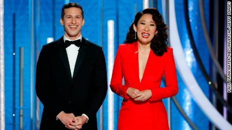 Hosts Andy Samberg and Sandra Oh