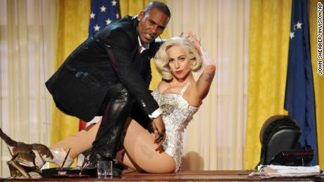 R. Kelly and Lady Gaga performing together at the American Music Awards in 2013