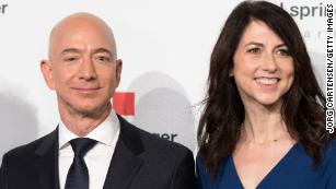 Jeff and MacKenzie Bezos attend an event on April 24, 2018 in Berlin, Germany