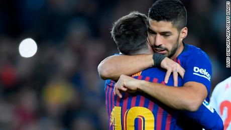 Uruguayan Luis Suarez scored Barca's two other goals in the 3-0 win over Eibar.
