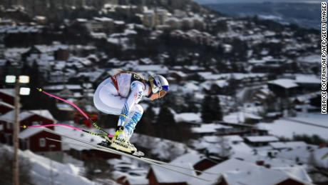 Vonn in full flight during the downhill in Are.