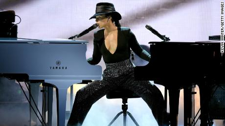 Alicia Keys onstage at the Grammys