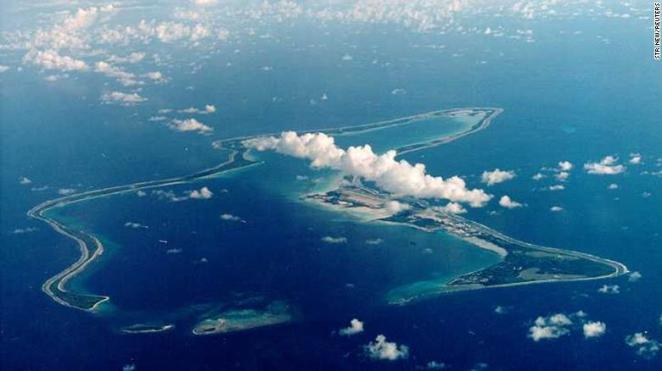 File photo of Diego Garcia, largest island in the Chagos archipelago and site of a major United States military base in the middle of the Indian Ocean leased from Britain in 1966.