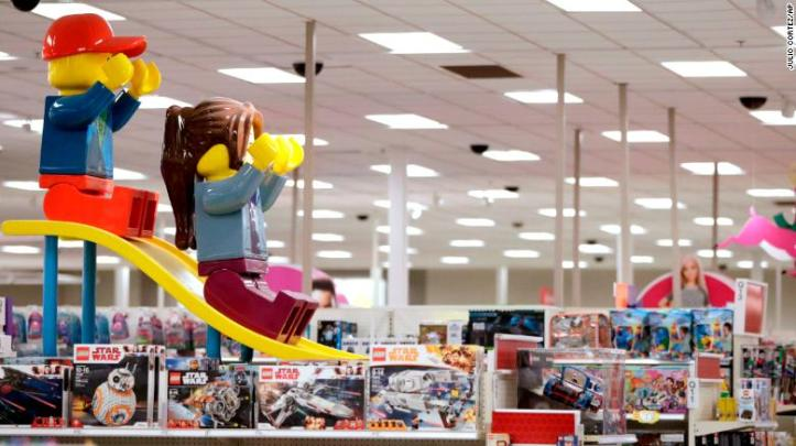 """Lego found ways to adapt to Toys """"R"""" Us' absence, such as three-foot slides above the aisles in some Target stores during the holidays."""