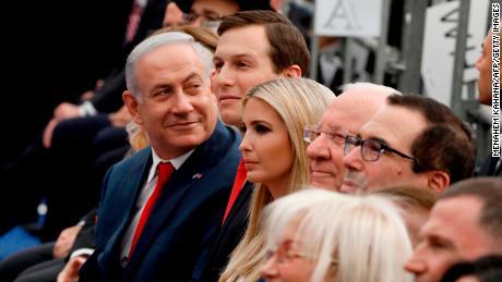 Israel's Prime Minister Benjamin Netanyahu, Senior White House Advisor Jared Kushner, US President's daughter Ivanka Trump, US Treasury Secretary Steve Mnuchin and Israel's President Reuven Rivlin attend the opening of the US embassy in Jerusalem on May 14, 2018.