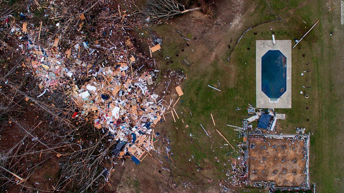 Debris litters a yard in Beauregard.