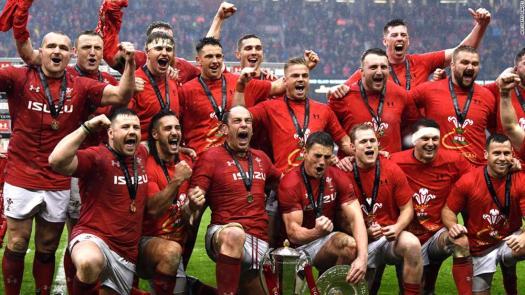 Wales celebrate Six Nations Grand Slam triumph