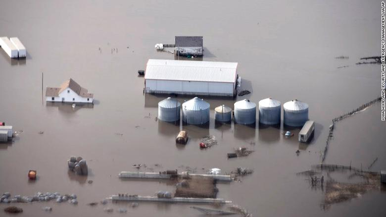 This photo taken by the South Dakota Civil Air Patrol shows flooding in western Iowa, along the Missouri River, on Monday.