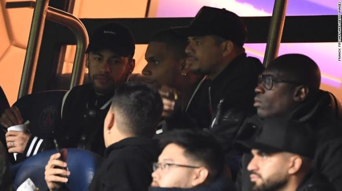 Neymar could only watch on from the stands due to injury.