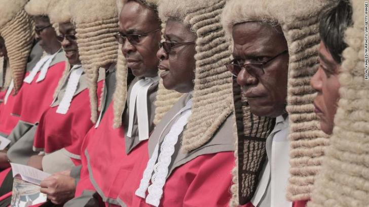 Chief judges of the Zimbabwean Supreme Court attend the swearing-in of President Emmerson Mnangagwa.