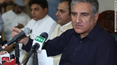 Pakistan's Foreign Minister Shah Mehmood Qureshi addresses a press conference in Multan on Sunday.