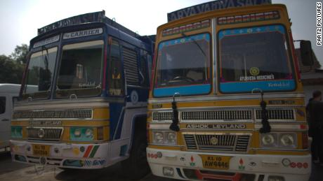 Buses in Kerala, India, that travel to Arya Vaidya Sala, one of the oldest Ayurvedic institutions.