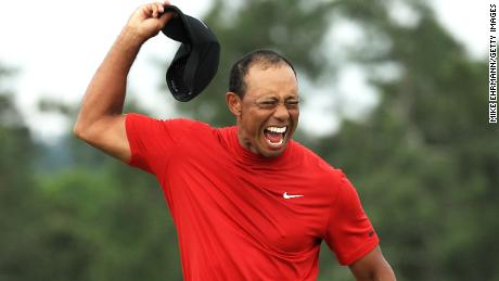 Tiger Woods sparked scenes of thunderous celebration on the 18th green.