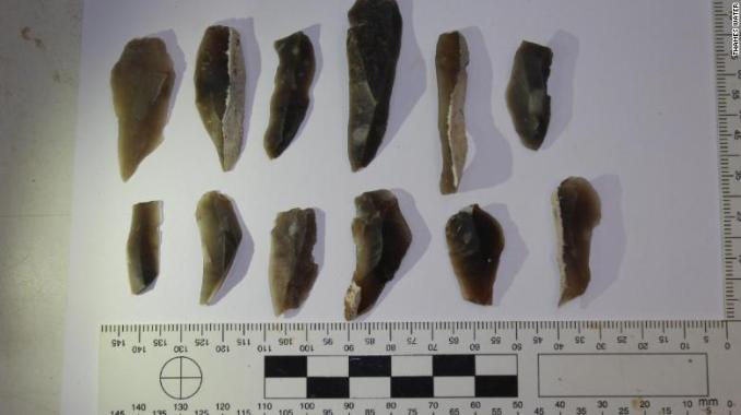 A collection of prehistoric flint tools.
