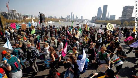 Extinction Rebellion  demonstrating on Waterloo Bridge, London, April 15, 2019.