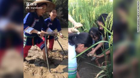 Stills from the Gaibao village's Kuaishou page, where they raise money through videos of their everyday lives.