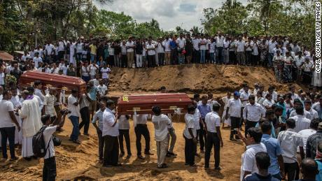 A mass funeral in the St. Sebastian Church in Negombo, Sri Lanka, where one of the attacks took place.