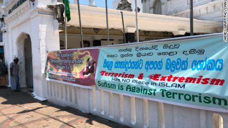 Signs outside Colombo's Dewatagaha Mosque, one of the largest and oldest in the Sri Lankan capital.
