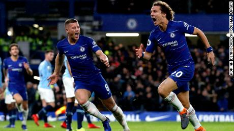 Chelsea's  David Luiz (R) celebrates with Ross Barkley after scoring his side's second goal in the 2-0 win over Manchester City.