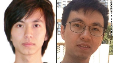 Two images of Fujie Wang taken from a wanted posted issued by the FBI.