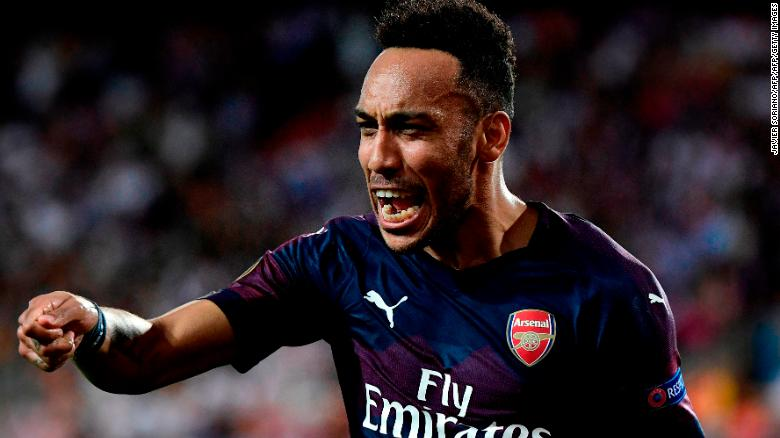 Pierre-Emerick Aubameyang scored a hat-trick as Arsenal claimed victory in Valencia.