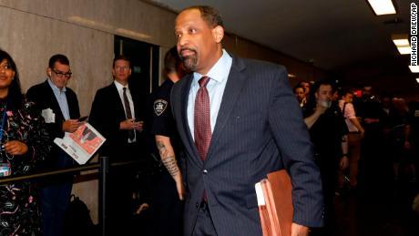 Harvard law professor Ronald Sullivan Jr. enters court for an April hearing in the Harvey Weinstein case.