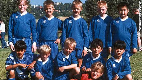Harmeet Singh (front row, first left) with his first childhood club in Norway, Furuset - where it all began.