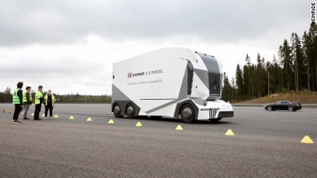 The truck is only allowed to go slowly during the test runs.